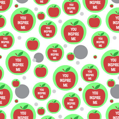 You Inspire Me Teacher Apple Premium Gift Wrap Wrapping Paper Roll - Apple Gift Wrap