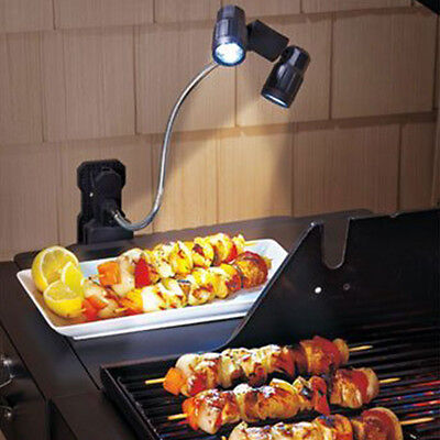 2-Head LED Barbecue Grill Light Lamp BBQ Outdoor Cooking Chef Buddy Adjustable
