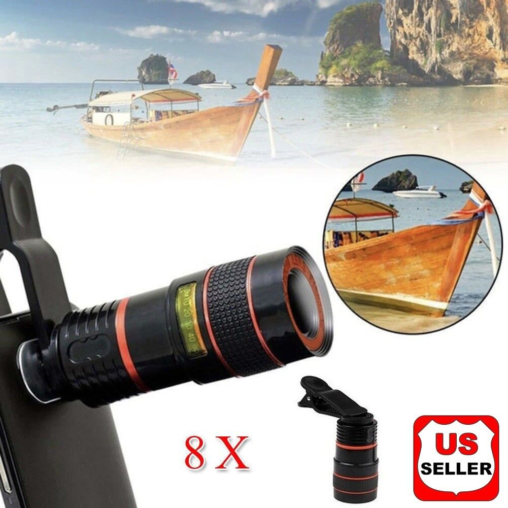 HD 8X Clip on Optical Zoom Telescope Camera Lens for Univers