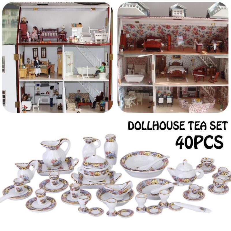 40pcs 1/12 Dollhouse Miniature Dining Ware Porcelain Dish/Cup/Plate Tea Set