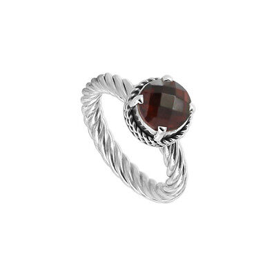925 Sterling Silver Polished Finish Round Garnet Solitaire Twisted Ring