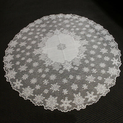 """White Vintage Tablecloth Round Lace Table Cloth Topper Valentines Day Decor 70"""""""