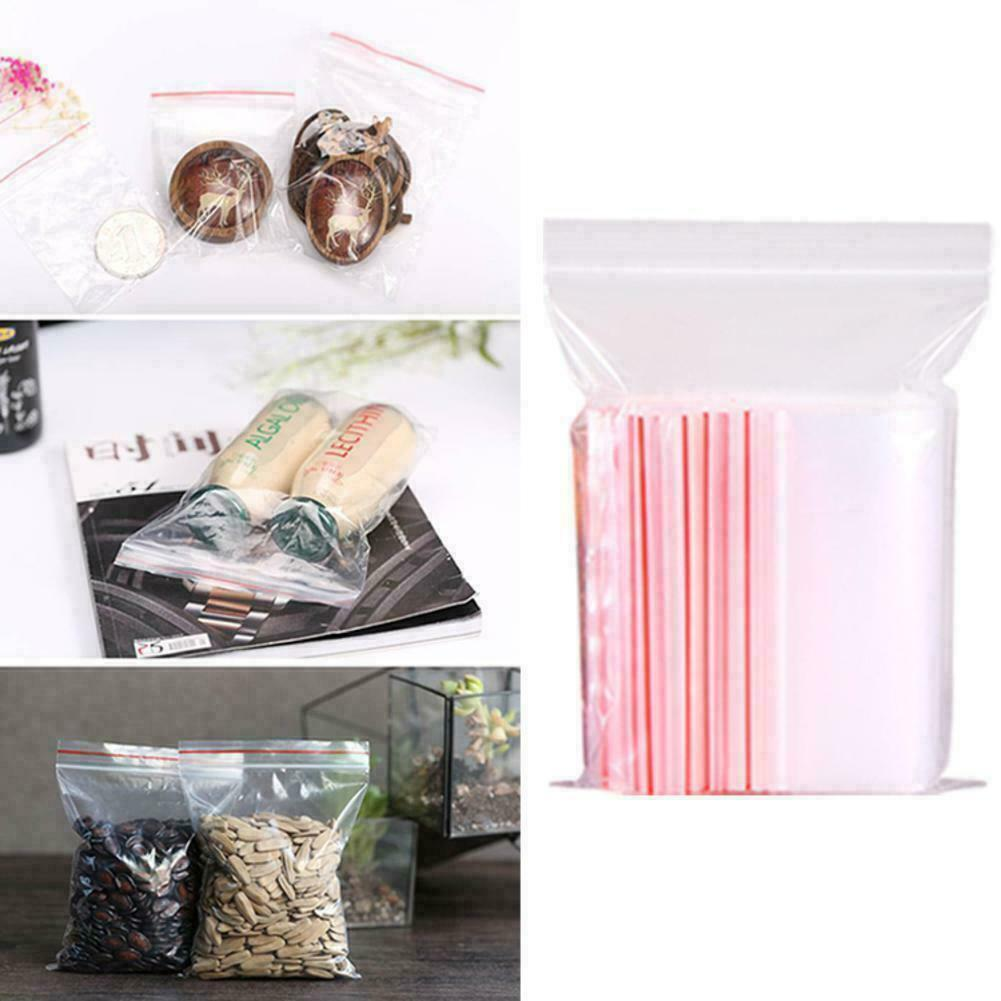 100pcs Clear Plastic Bag Grip Self Seal Resealable Packing Bags Ziplock Q0D8