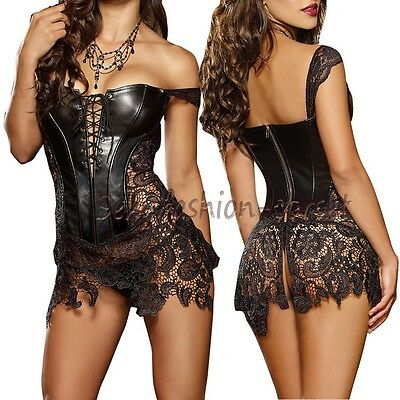 Women Lingere Faux Leather Corset & Skirt SEXY Lingerie Bustier dress top shaper Corset Bustier Skirt
