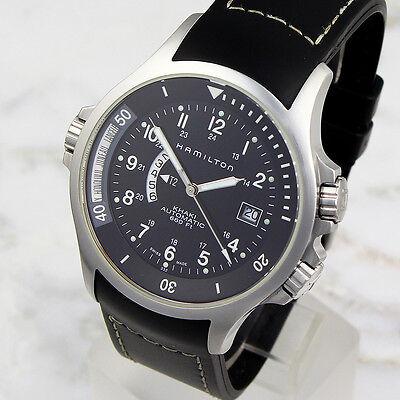 Dual Time Zone 42mm Hamilton Khaki Navy Model H776151 Automatic Wristwatch
