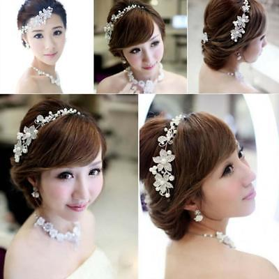 New Bridal Wedding Crystal Flower Pearl Rhinestone Hair Band Headband Tiara Vine (Pearl Tiara)