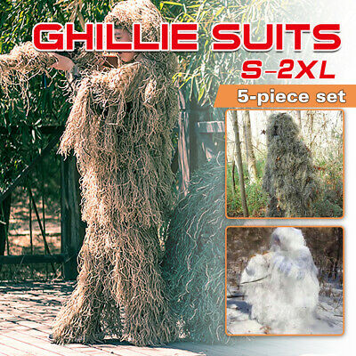 3D Leaf Sniper Ghillie Suit Woodland Desert Snow Hunting Tactical 4-Piece + Bag