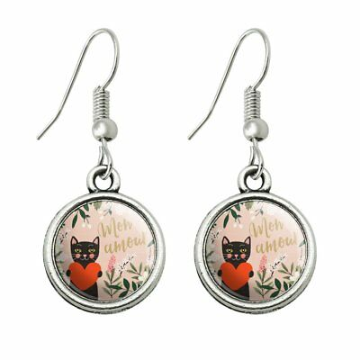 Mon Amour My Love French Cat Heart Novelty Dangling Drop Charm Earrings