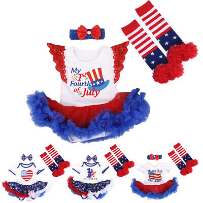Newborn Baby Girls USA Flag Romper Dress Bow 4pcs Set for My