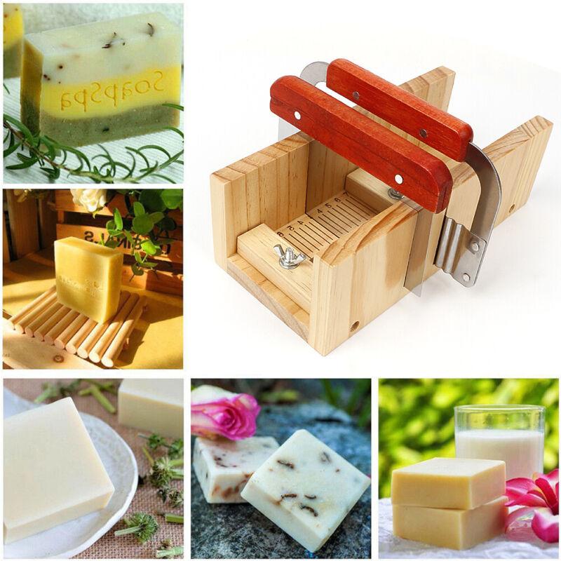 9pcs Adjustable Soap Making Kit Loaf Soap Mould Wooden Soap Cutter Slicer New