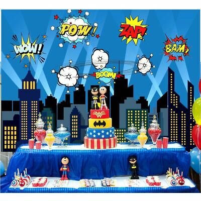 City Photography Backdrop Superhero Themed Party Kids Birthday Party Background - City Themed Decorations
