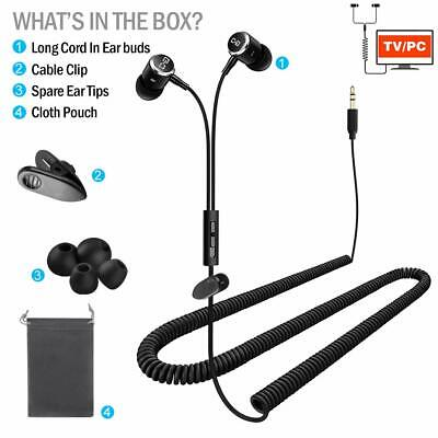 Headphones for TV with LONG CORD 12FT / 3.5M Extension Cable (Earphones Long Cord)