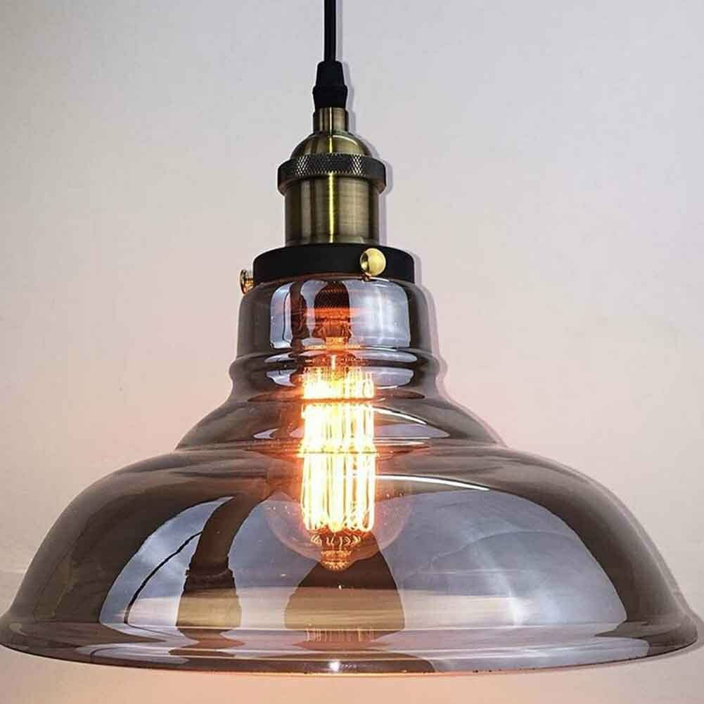 Vintage Industrial Glass Pendant Light: Vintage Retro Grey LED Glass Ceiling Pendant Light LED