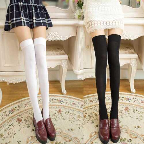 Damen Extra Lang Stiefel Socken Überknie Schenkelhoch Schulmädchen Strümpfe