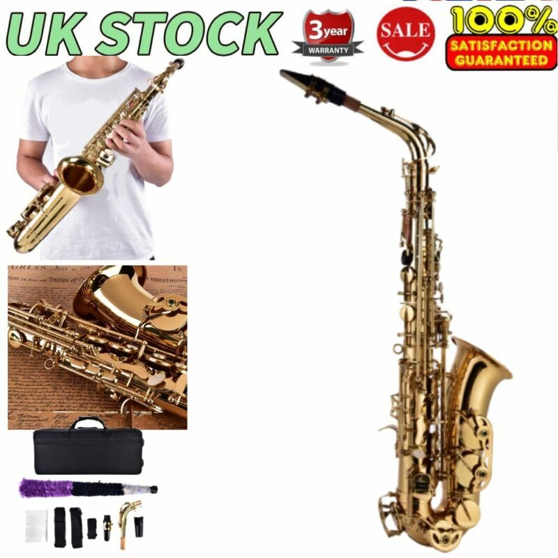 Alto Eb Sax Saxophone Brass Golden Set with Storage Case Mouthpiece Grease HOT!!