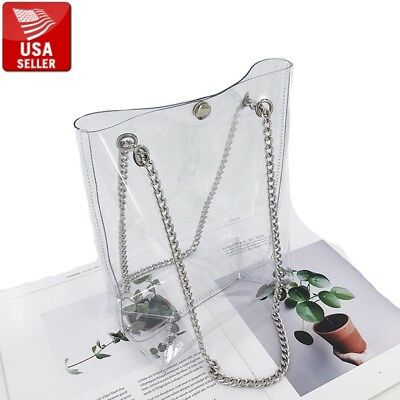 Beautiful Big Transparent PVC Stylish Purse Clear Handbag Bag Tote Silver Chain Big Handbag Tote