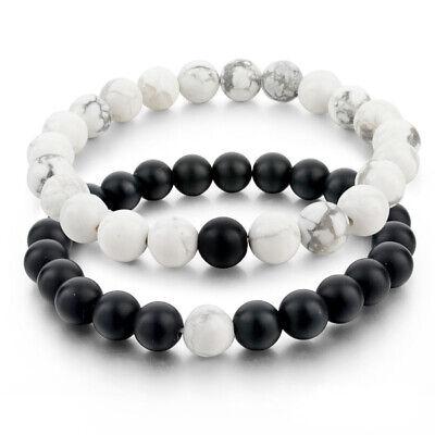 2Pcs/Set Couples Distance Bracelet Classic Natural Stone Bracelets Best (Best Friend Distance Bracelets)