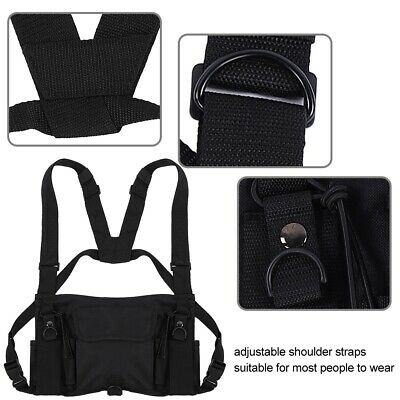 Chest Harness Rig 3 Pocket Pack Bag Holster Vest for Two Way Radio Hands Free US