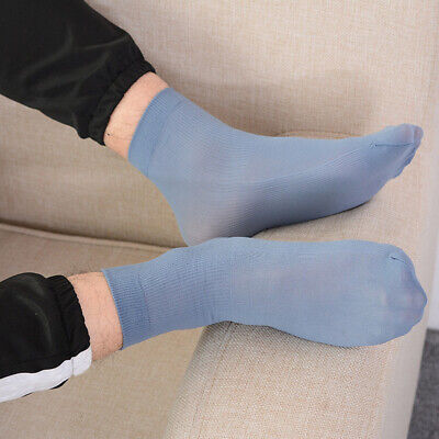 Men Casual Business Thin Ankle Socks Elastic Silk Mide Tube Socks Solid Color Solid Color Ankle Socks
