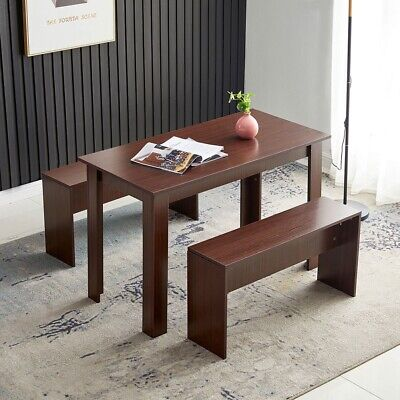 3 Pcs Set Dining Table Set W2 Benches Wood Home Office Dining Meeting Room Desk