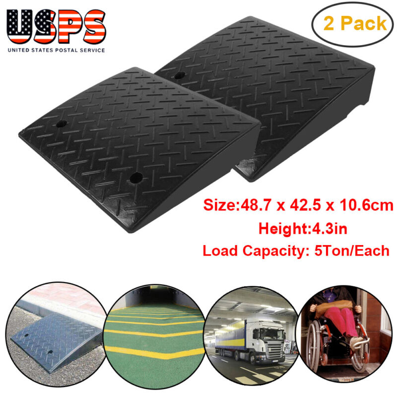 """Height 4.3"""" Load 5Ton Heavy Duty Rubber Curb Ramp 2 Pack US STOCK"""