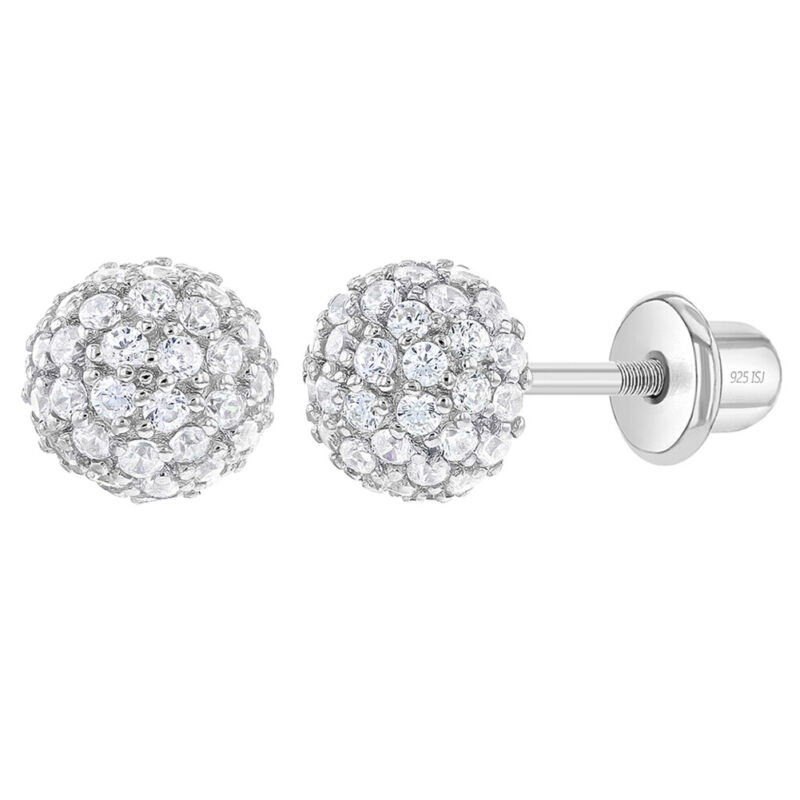 925 Sterling Silver 6mm CZ Burst Screw Back Stud Earrings for Young Girls Teens