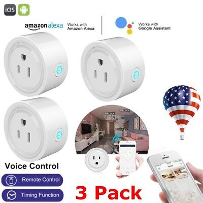 3x Smart Mini WiFi Plug Outlet Switch work with Echo Alexa Google Home Remote US