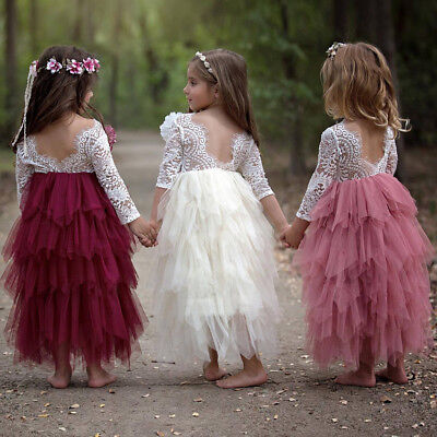 Lace Flower Girl Dresses For Toddlers (Flower Girl Lace Wedding Bridesmaid Party Long Maxi Dress for Toddler Baby)