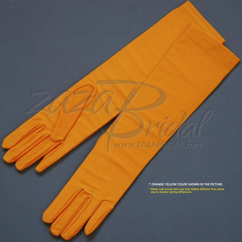4-Way Stretch Matte Finish Satin Dress Gloves Below-The-Elbow Length 8BL