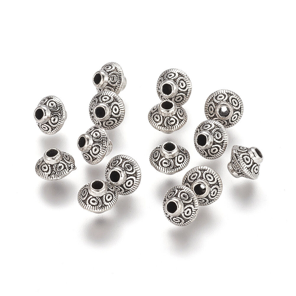 50pcs Antique Silver Metal Alloy Leaf Spacer Bead Jewellery Making Crafts