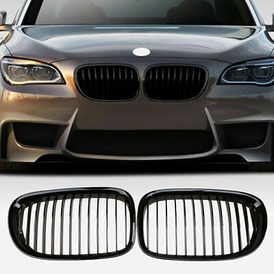 Shiny Black Front Kidney Grille For 2009-2012 BMW F01 740i 750i 760i Left +Right