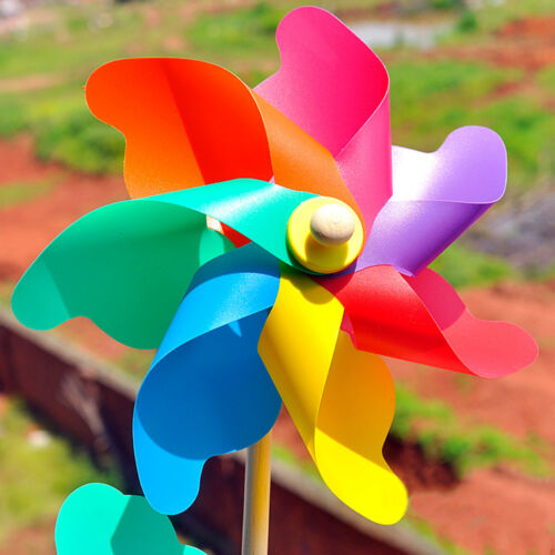 5//10//15 Holographic Garden Windmill Single Flower Window Home Decor Kids Toy ZY