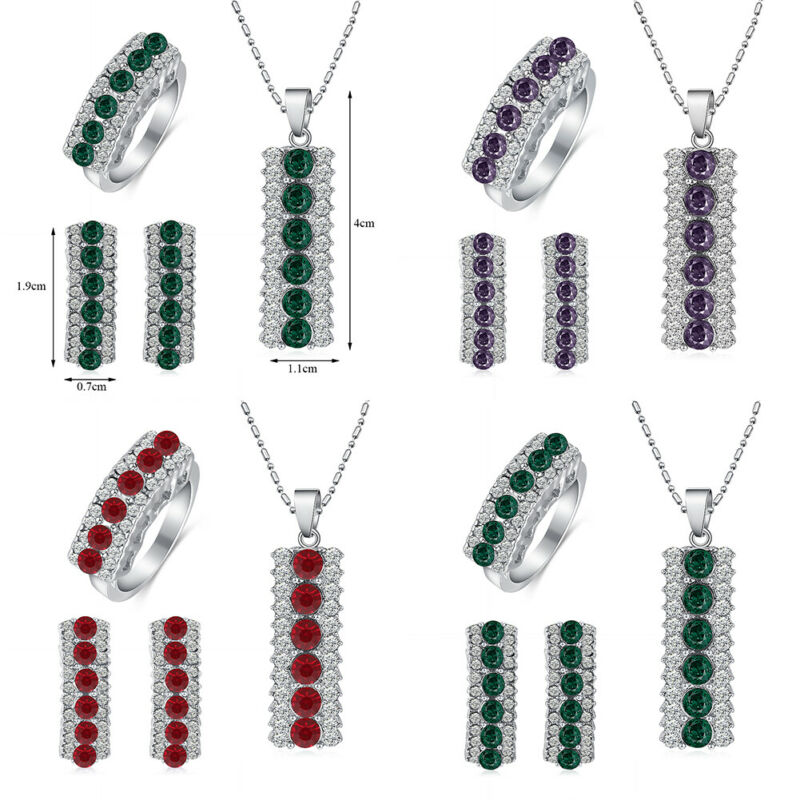 925 Silver Zircon Pendant Necklace Ring for