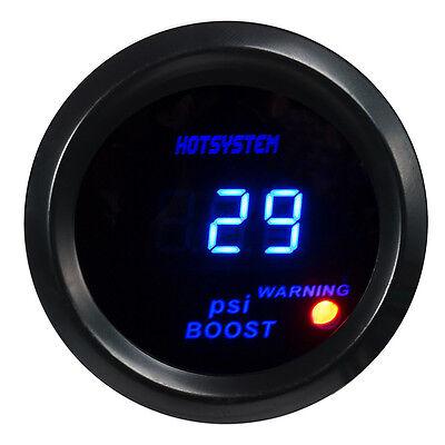 """2"""" 52mm HOTSYSTEM Blue Digital LED Electronic PSI Boost Gauge Black for Car #09"""