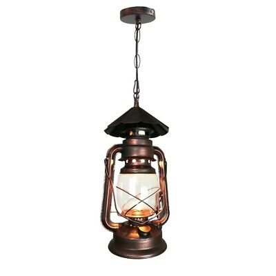 Pendant Lantern Light Fixture Vintage Hanging Rustic Ceiling Clear Glass Retro