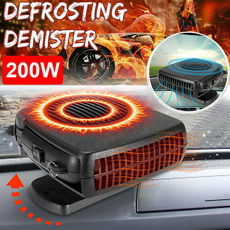 200W Electric Car Heater 12V DC Heating Fan Defogger Defroster Demister Portable