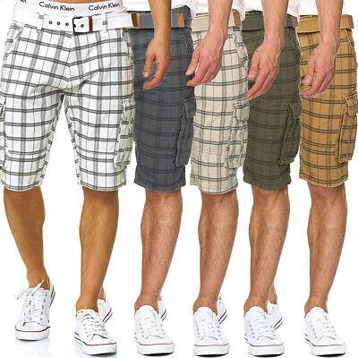 INDICODE Herren Karierte Cargo Shorts Bermuda kurze Hose Jeans Denim Leinen Jogg