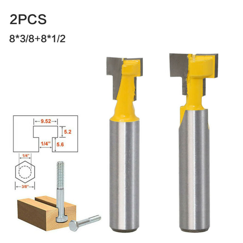 2PCS Router Bits Cutters 1//4 Shank Keyhole T-Slot Woodworking 3//8 /& 1//2