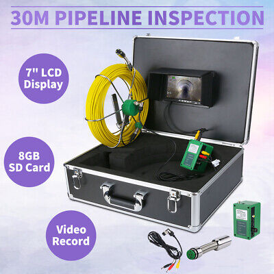 30m Sewer Waterproof Camera Pipe Pipeline Drain Inspection System 7lcd Dvr