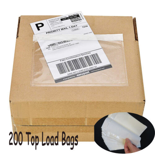 "200 7.5""x 5.5"" Clear Adhesive Top Loading Packing List Invoice Envelopes Pouches"