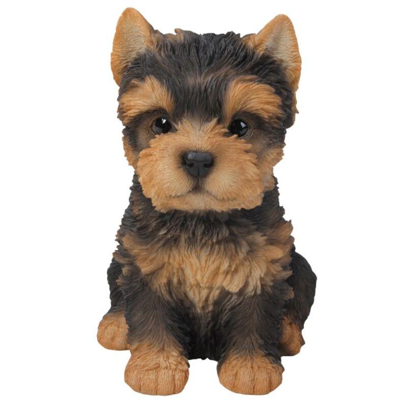Sitting Yorkie Puppy Figurine Statue Yorkshire Terrier Pet Dog Lover Animal New