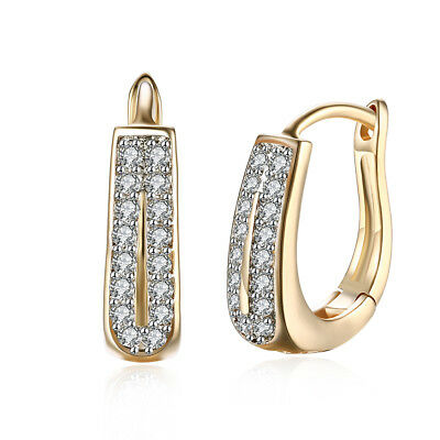 14k Yellow Gold Plated 15mm Huggie Earrings Double Row with Swarovski Crystals ()