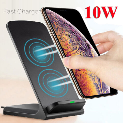 Qi Wireless Fast Charger Charging Stand Dock For Galaxy S20+ iPhone 11 Xs Max Cell Phone Accessories