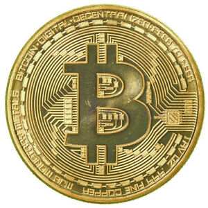 1 x Gold Plated Bitcoin Coin Collectible Gift BTC Coin Art Collection Gift Hot