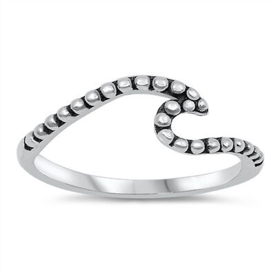 Oxidized Bead Wave Ocean Water Beach Ring .925 Sterling Silver Band Sizes - Water Wave Ring