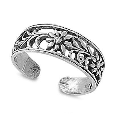 Flower Design Toe Ring Face Height: 6 mm Sterling Silver 925 USA Seller