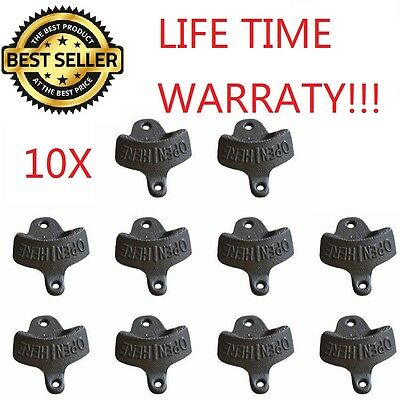 10X RUSTIC BOTTLE OPENER IRON WALL MOUNT BEER COKE SODA BOTTLE OPENERS - Wall Mount Bottle Openers