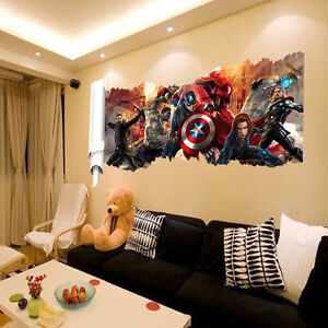 The Avengers Scroll 3D Removable Wall Decals Sticker Kids Room Decor Boys Gift