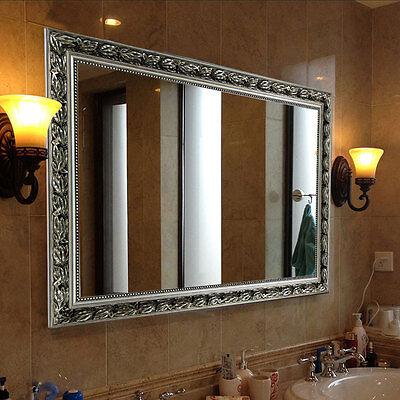 "Rectangular Wall Mounted Mirror, Double-way Hanging, 32""x24"", Baroque Silver"