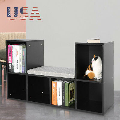 Multi-functional Reading Nook Wood Wall Bookcase 6 Grids Kids Bookshelf Storage (Kids Nook)